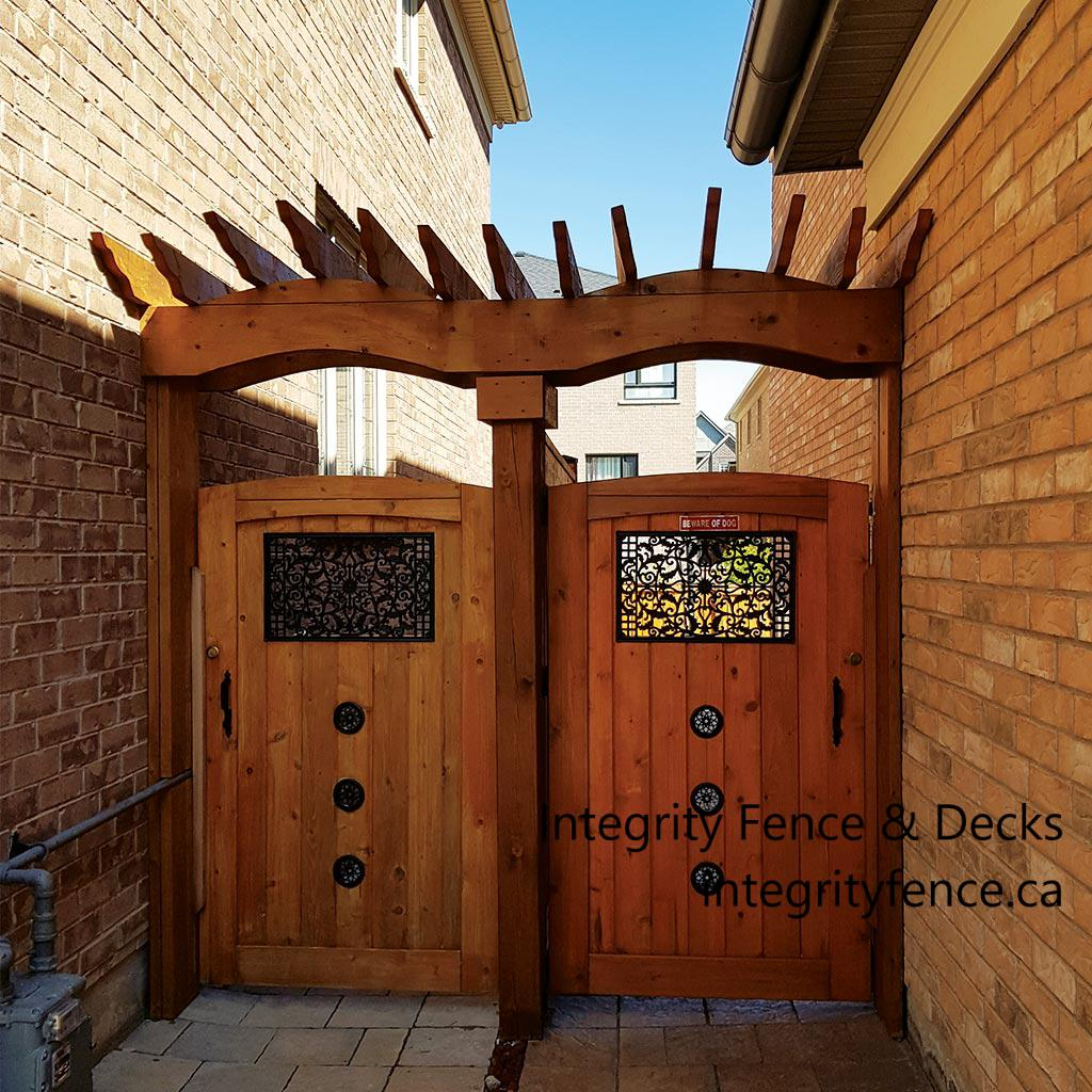Upgraded Cedar Gate with Pergola and Large & Small Inserts
