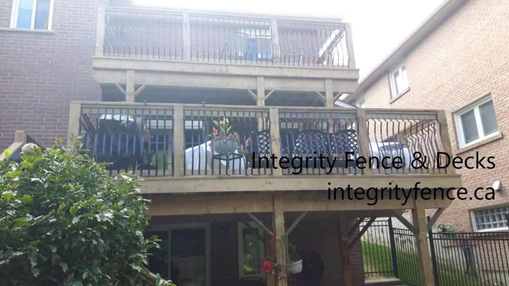 double pressure treated deck with metal pickets